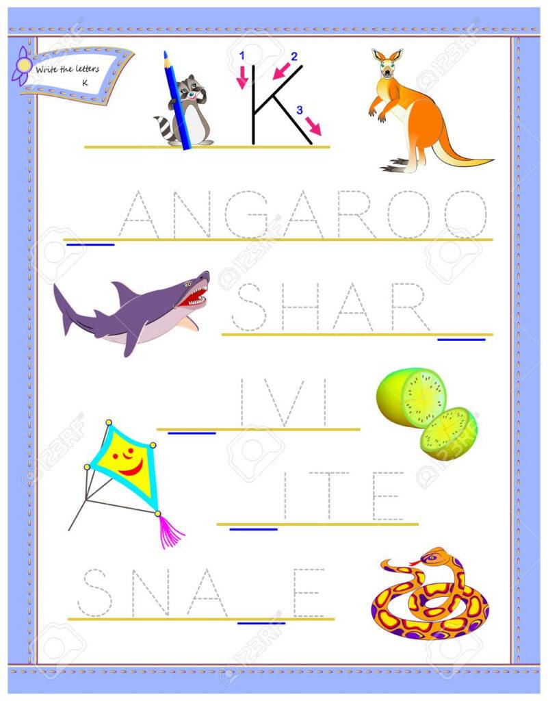 Tracing Letter K For Study English Alphabet. Printable Worksheet.. Inside Letter K Worksheets Printable