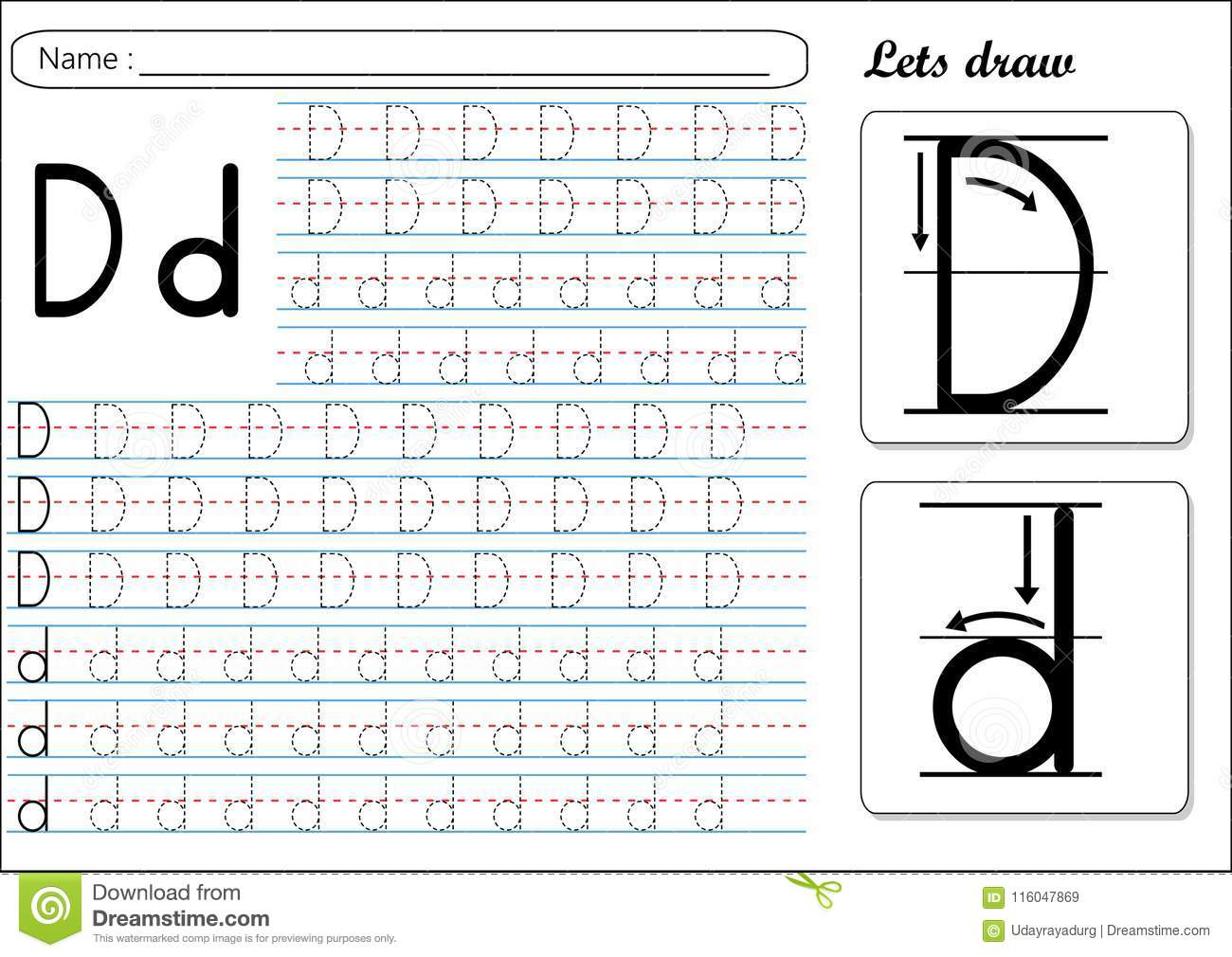 Tracing Worksheet -Dd Stock Vector. Illustration Of Small in Letter Dd Worksheets