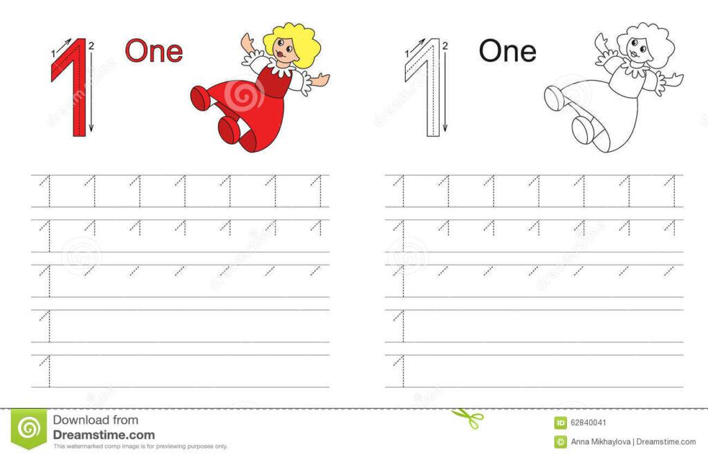 Tracing Worksheet For Letter 1 Stock Vector   Illustration With Letter 1 Worksheets