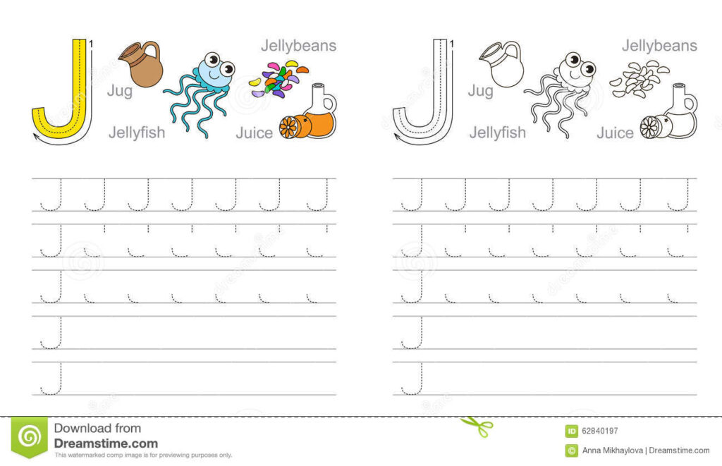 Tracing Worksheet For Letter J Stock Vector   Illustration Pertaining To J Letter Worksheets