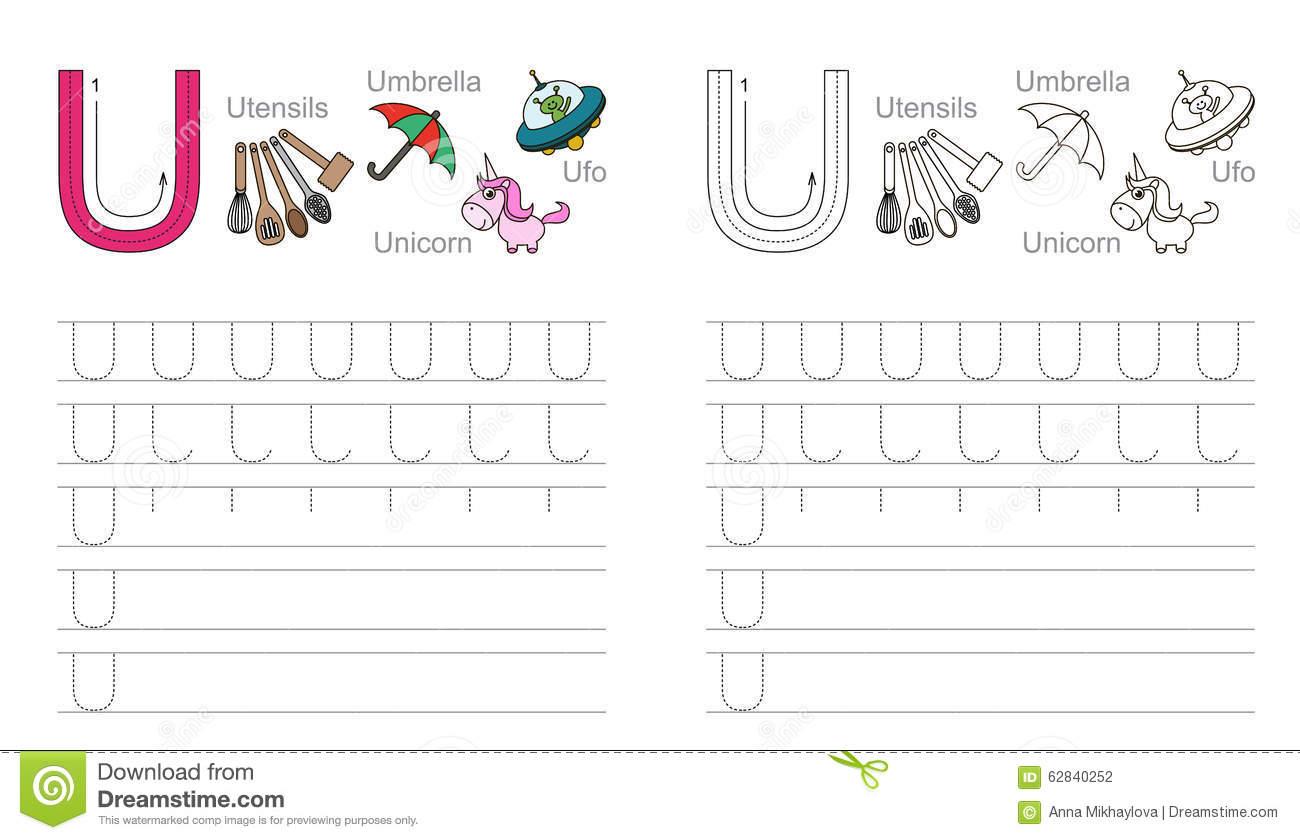 Tracing Worksheet For Letter U Stock Vector - Illustration with Letter U Worksheets Handwriting Kindergarten