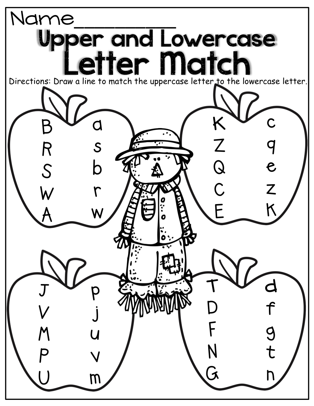 Upper And Lowercase Letter Match! | Kindergarten Worksheets throughout Alphabet Worksheets Upper And Lowercase