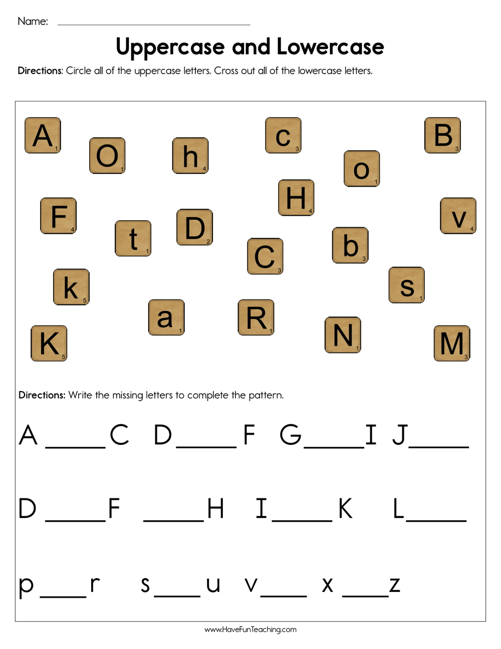Uppercase And Lowercase Worksheet | Have Fun Teaching in Alphabet Worksheets Upper And Lowercase