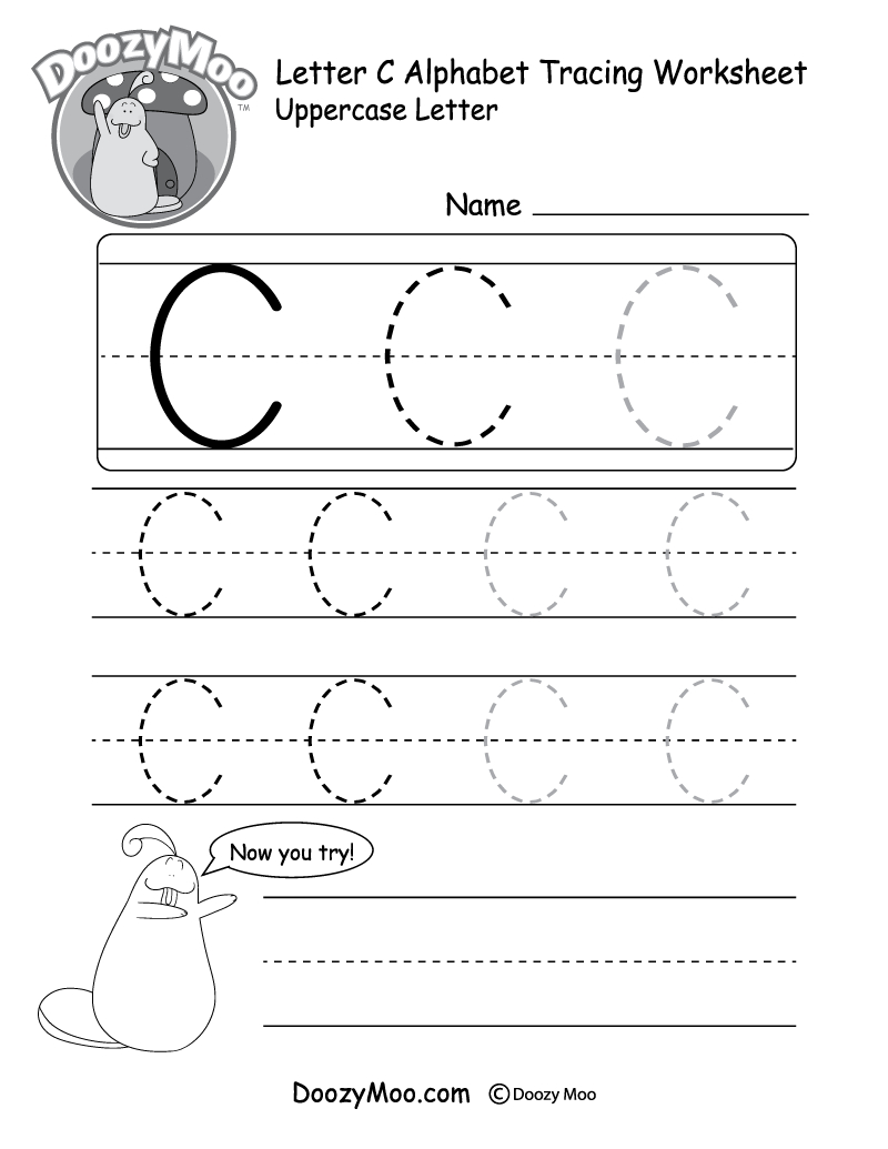 Uppercase Letter C Tracing Worksheet - Doozy Moo pertaining to Letter C Worksheets Pdf