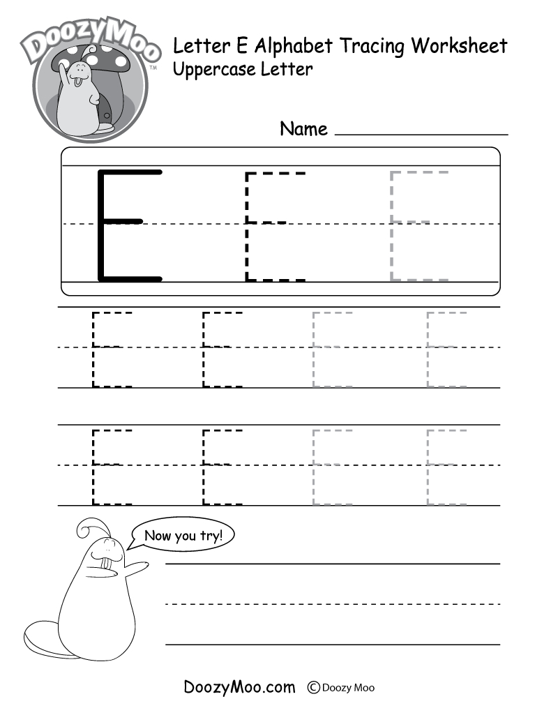 Uppercase Letter E Tracing Worksheet - Doozy Moo with E Letter Worksheets