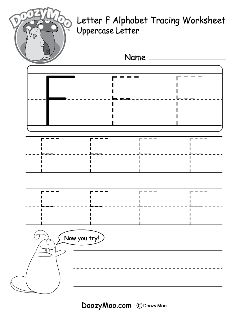 Uppercase Letter F Tracing Worksheet - Doozy Moo with Alphabet Worksheets Traceable