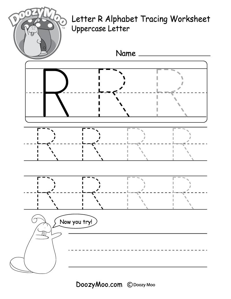 Uppercase Letter R Tracing Worksheet - Doozy Moo in Letter R Worksheets Pre K