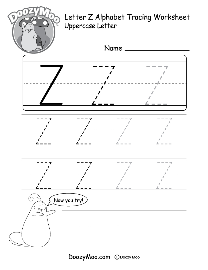 Uppercase Letter Z Tracing Worksheet - Doozy Moo with Letter Z Worksheets For Preschool