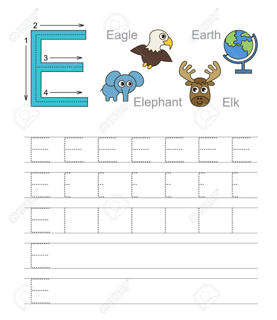 Vector Exercise Illustrated Alphabet. Learn Handwriting. Tracing.. Regarding Letter E Alphabet Worksheets