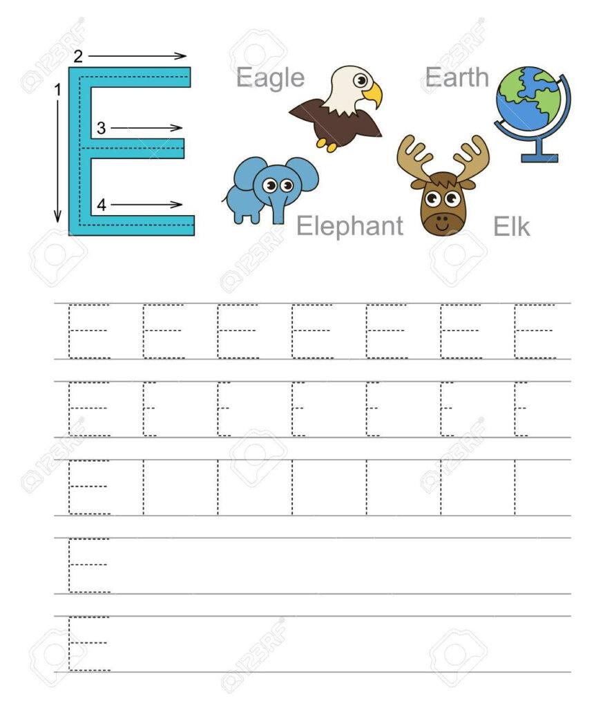 Vector Exercise Illustrated Alphabet. Learn Handwriting. Tracing.. Regarding Letter E Alphabet Worksheets