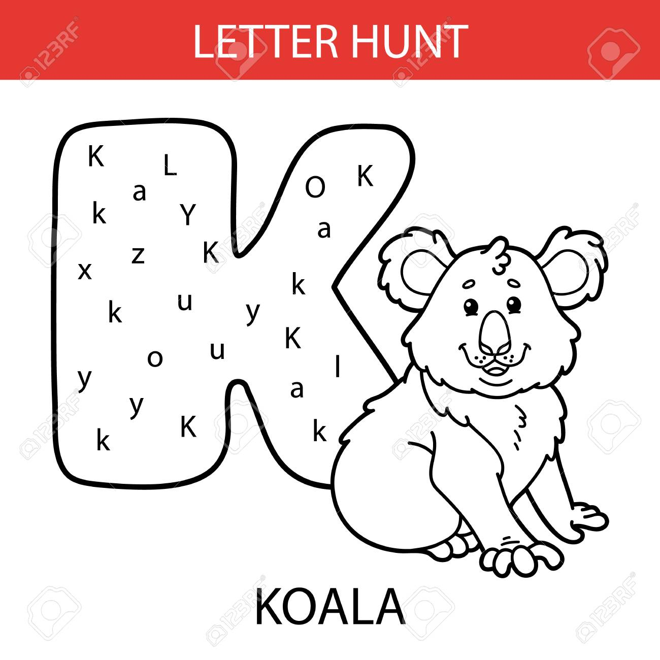 Vector Illustration Of Printable Kids Alphabet Worksheets Educational.. pertaining to Alphabet Hunt Worksheets