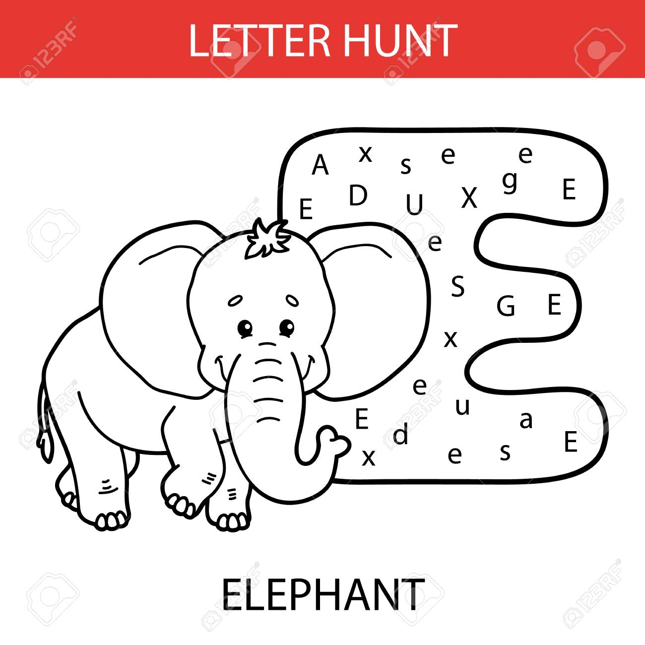 Vector Illustration Of Printable Kids Alphabet Worksheets Educational.. with Alphabet Hunt Worksheets