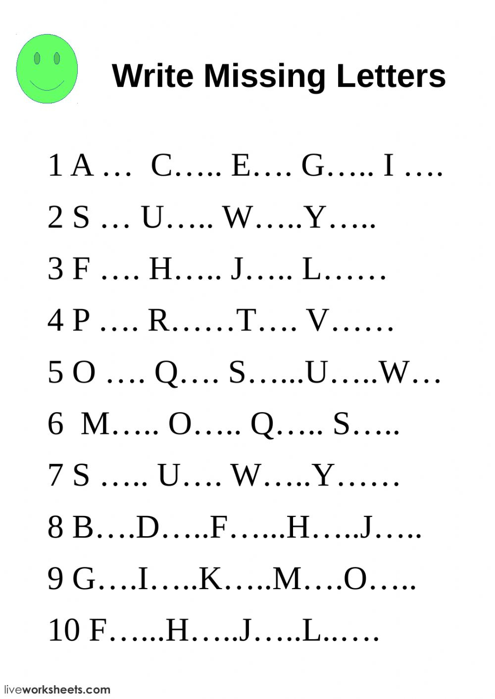 Write Missing Letters - Interactive Worksheet intended for Alphabet Worksheets Fill In The Missing Letter