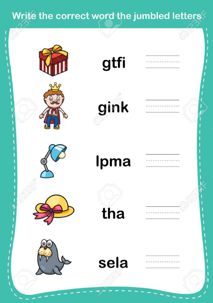 Write The Correct Word The Jumbled Letters,illustration, Vector With Regard To Alphabet Jumble Worksheets