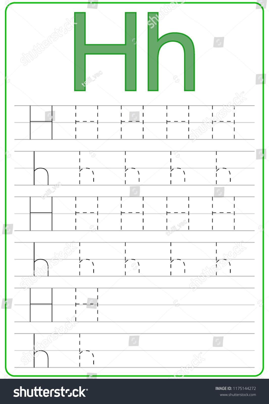 Writing Az Alphabet Exercises Game Kids Stock Vector inside Alphabet Worksheets H