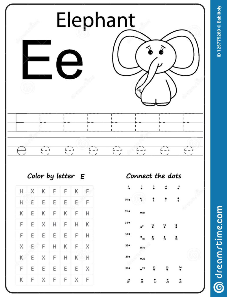 Writing Letter E. Worksheet. Writing A Z, Alphabet For Alphabet Worksheets Letter E
