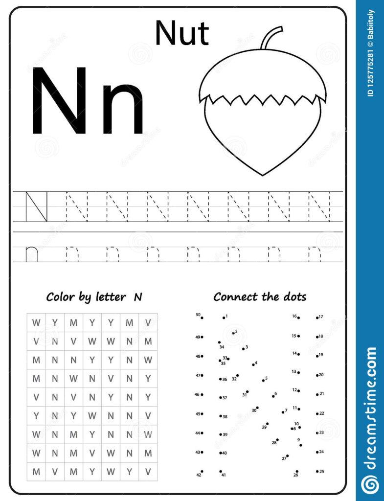 Writing Letter N. Worksheet. Writing A Z, Alphabet In Letter Nn Worksheets