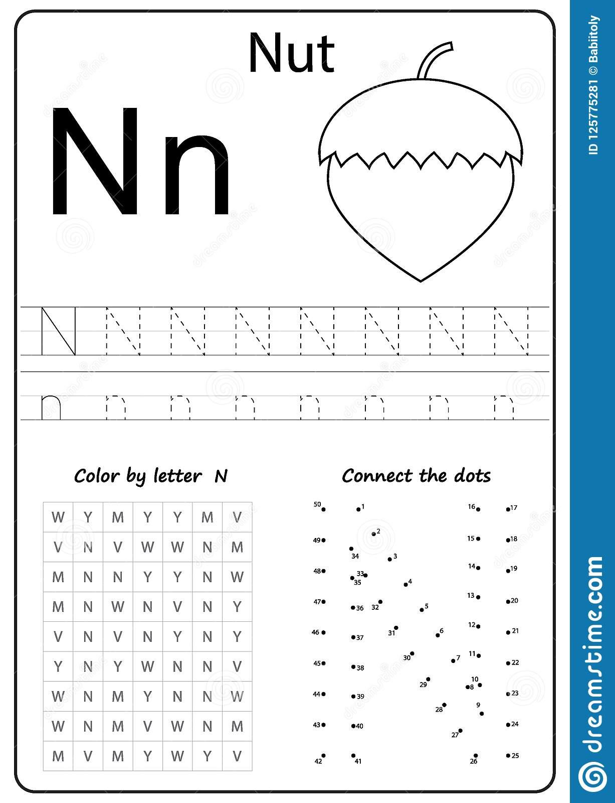 Writing Letter N. Worksheet. Writing A-Z, Alphabet in Letter Nn Worksheets