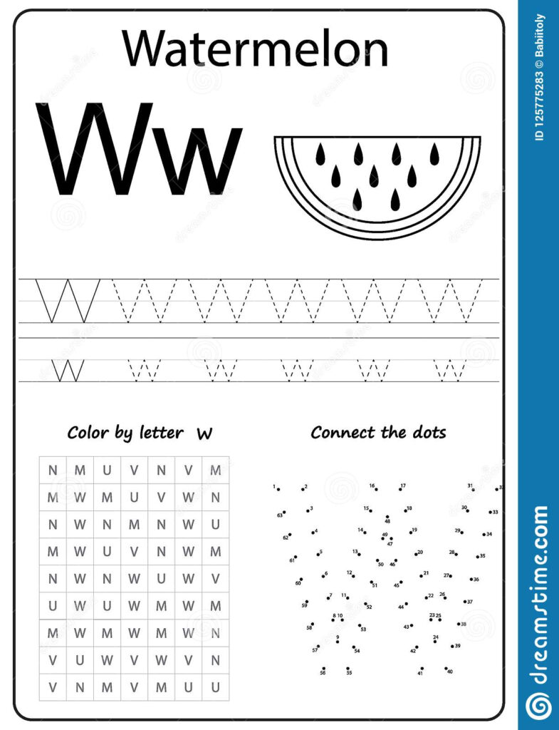 Writing Letter W. Worksheet. Writing A Z, Alphabet With Letter W Worksheets For Preschool