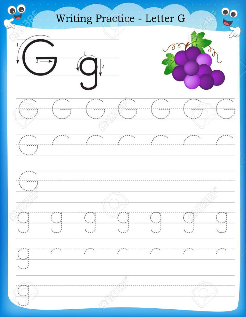 Writing Practice Letter G Printable Worksheet For Preschool.. In Letter G Worksheets For Kinder