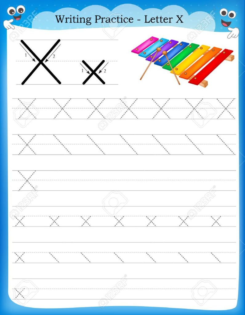 Writing Practice Letter X Printable Worksheet With Clip Art.. Intended For Letter X Worksheets For Kindergarten