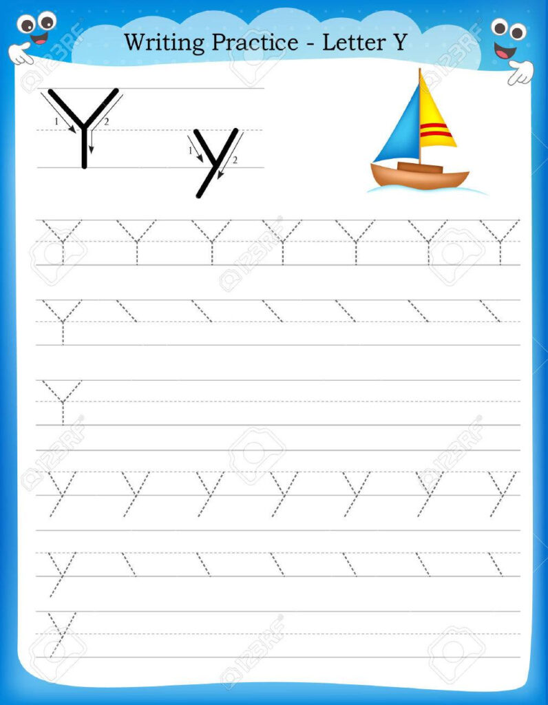 Writing Practice Letter Y Printable Worksheet With Clip Art.. Pertaining To Letter Y Worksheets Free