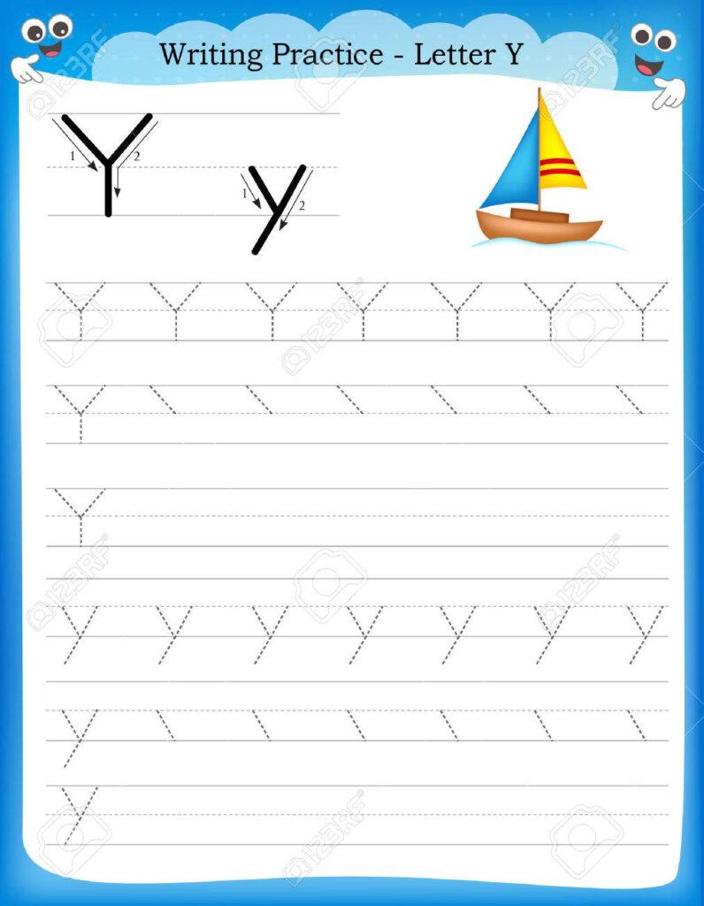 Writing Practice Letter Y Printable Worksheet With Clip Art.. With Letter Y Worksheets Free Printable