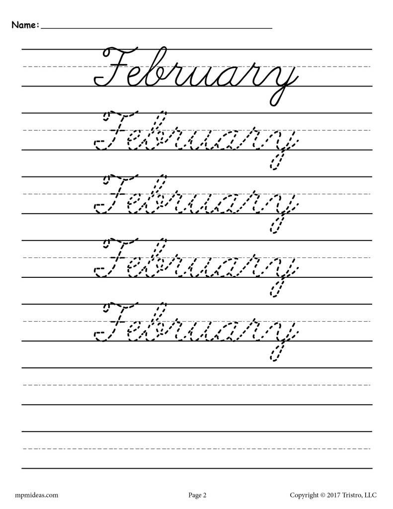 12 Months Of The Year Cursive Handwriting Worksheets pertaining to Name Tracing Worksheets Cursive