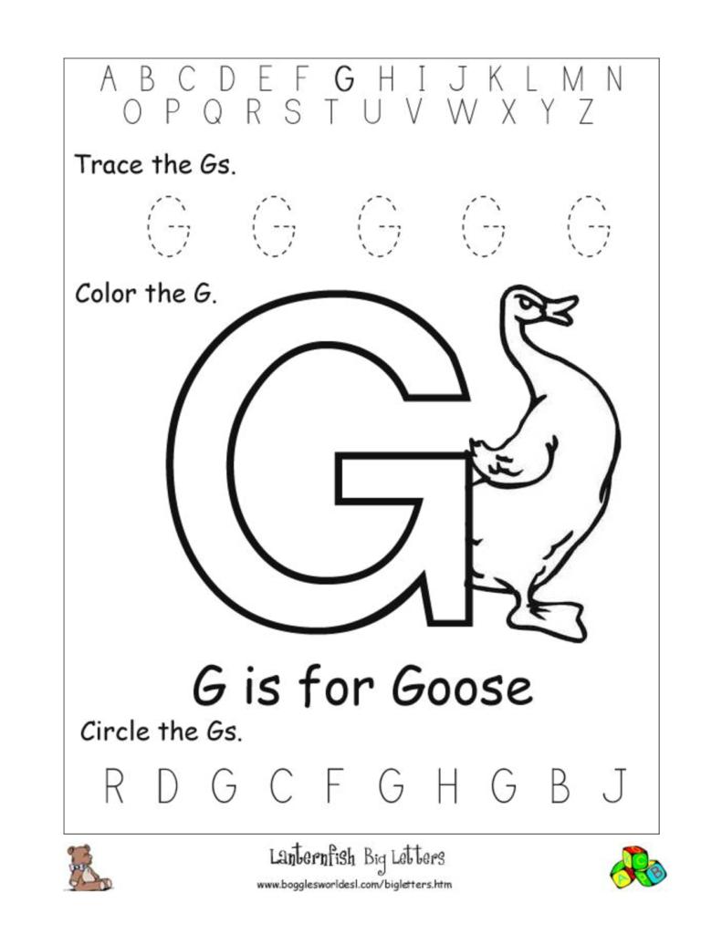 15 Images Of Printable Alphabet Letter Worksheets With Regard To Letter G Worksheets For Pre K