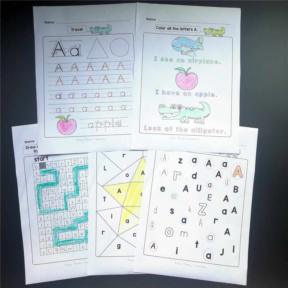 26 Alphabet Learning Practice Paper English Workbook 130Pcs 5 Plays Fun  Writing Homework Notebook Kids Education Toys Children regarding Alphabet Tracing Notebook