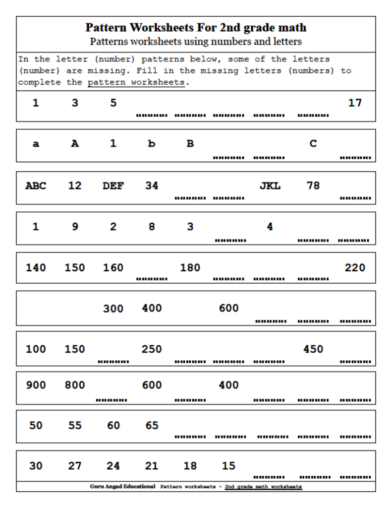 2Nd Grade Math   Patterns Worksheets Using Numbers And With Alphabet Worksheets Grade 2