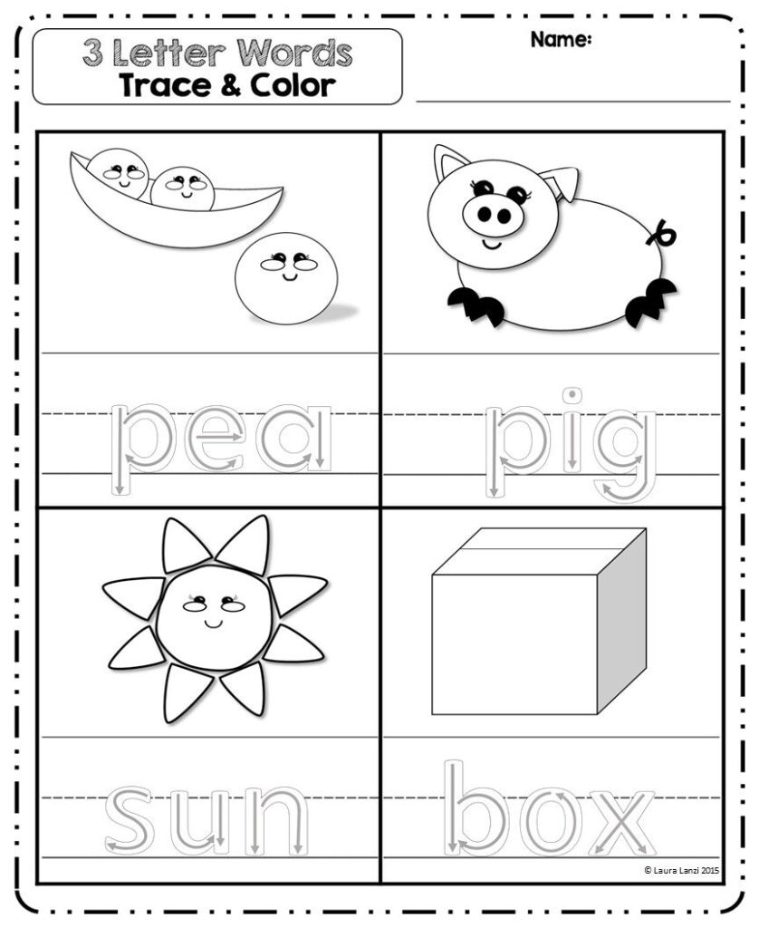 3 Letter Words Puzzles For Letter 3 Tracing