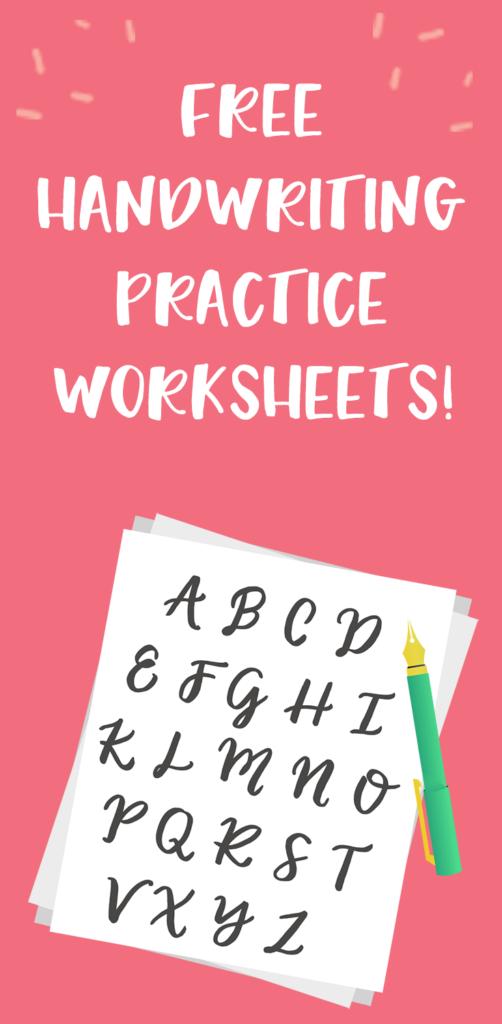 5 Free Handwriting Practice Worksheets   Productive & Pretty In Alphabet Handwriting Worksheets For Adults
