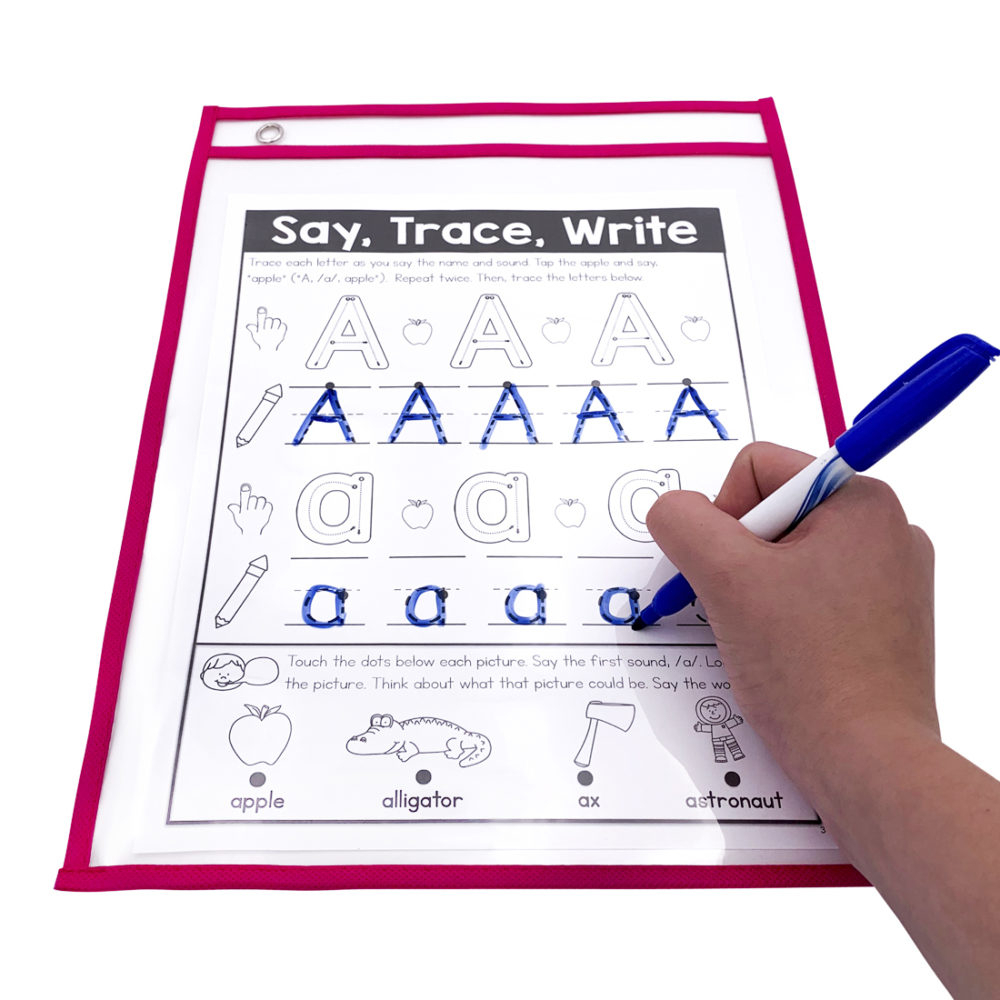 50 Pack Multi Color Dry Erase Pocket Sleeves pertaining to Letter Tracing Dry Erase Board