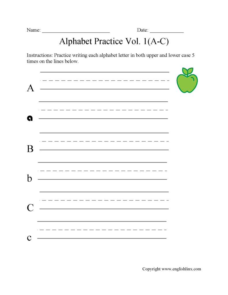 A To C Writing Alphabet Worksheet | Alphabet Writing Within Alphabet Worksheets Writing