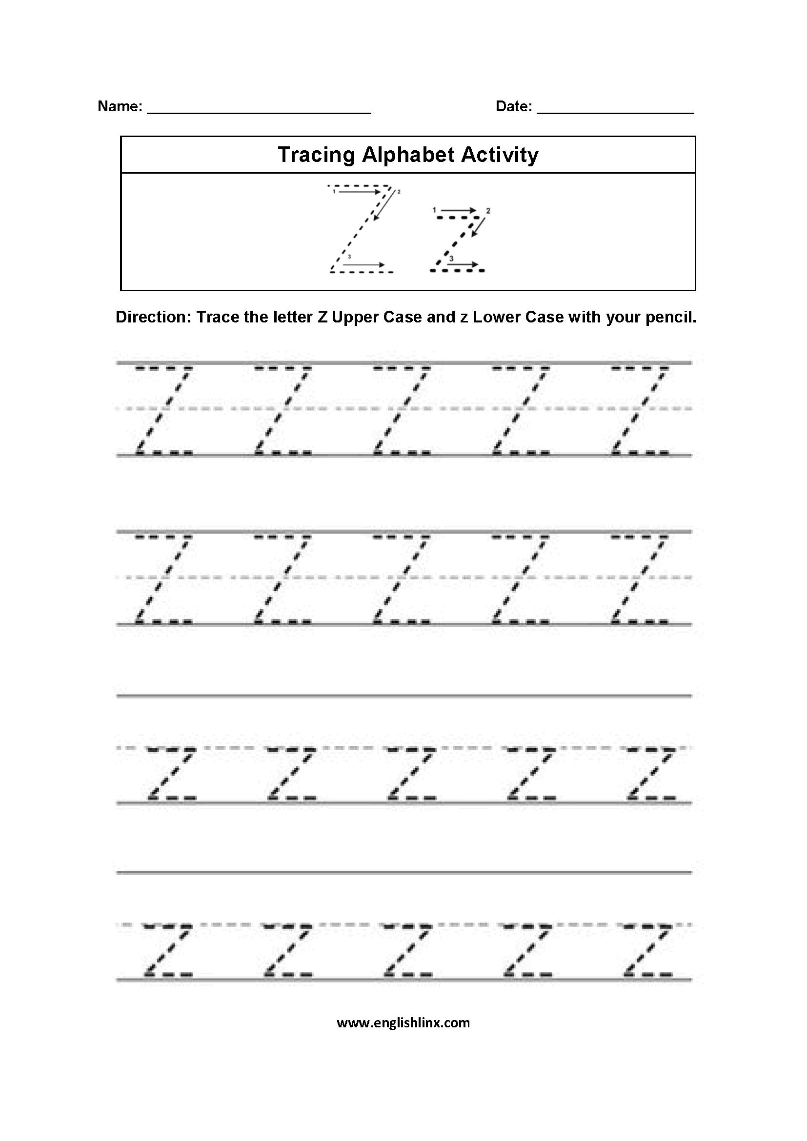 A To Z Alphabet Worksheets Pdf لم يسبق له مثيل الصور + Tier3.xyz inside Z Letter Tracing