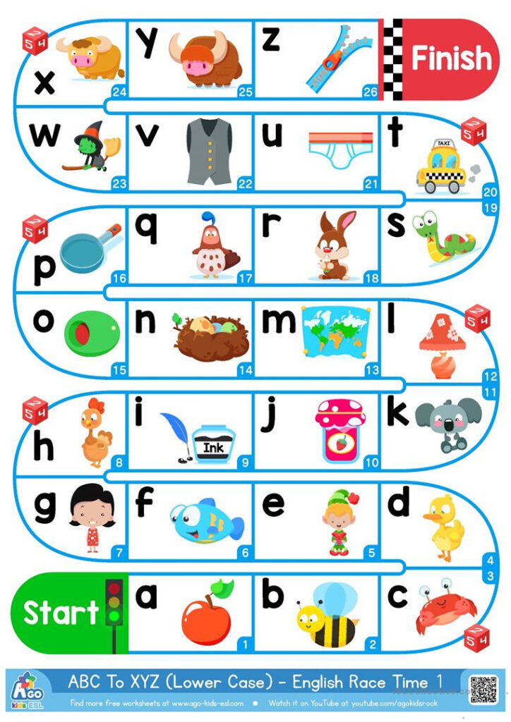 A Z Lower Case Alphabet   Esl Board Game   English Esl For Alphabet Worksheets Pdf Esl