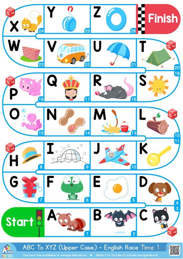 A Z Upper Case Alphabet   Esl Board Game   English Esl Regarding Alphabet Worksheets Pdf Esl
