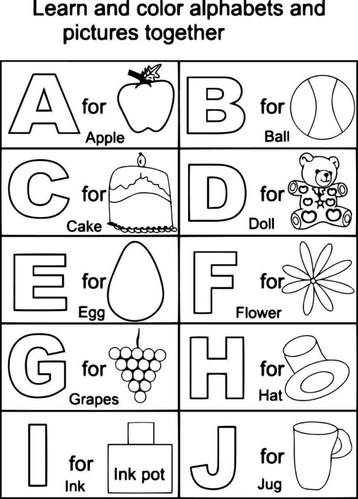 Abc Color Sheets For Kindergarten | Kindergarten Coloring For Alphabet Worksheets Coloring Pages