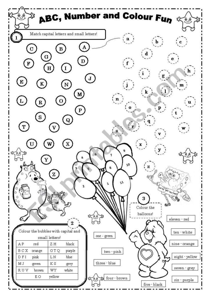 Abc, Number And Colour Fun (For Beginners)   Esl Worksheet Intended For Alphabet Exercises Elementary
