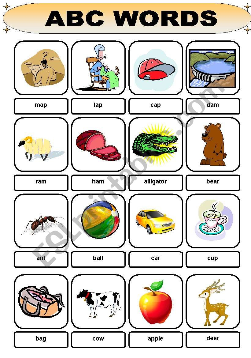 Abc Words - Flashcard - Esl Worksheetbrent_Dws for Alphabet Words Worksheets