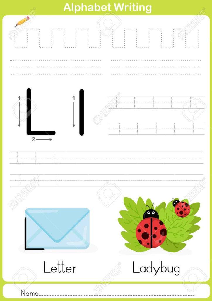Alphabet A Z Tracing Worksheet, Exercises For Kids   Illustration.. Intended For Name Tracing Outline
