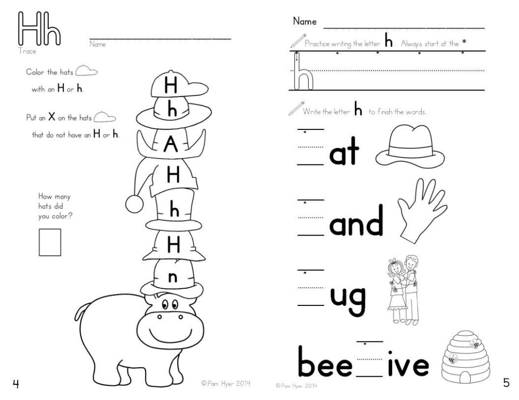 Alphabet Activities: Learning My Letters [Hh]   Lettering Intended For Letter H Worksheets Activity