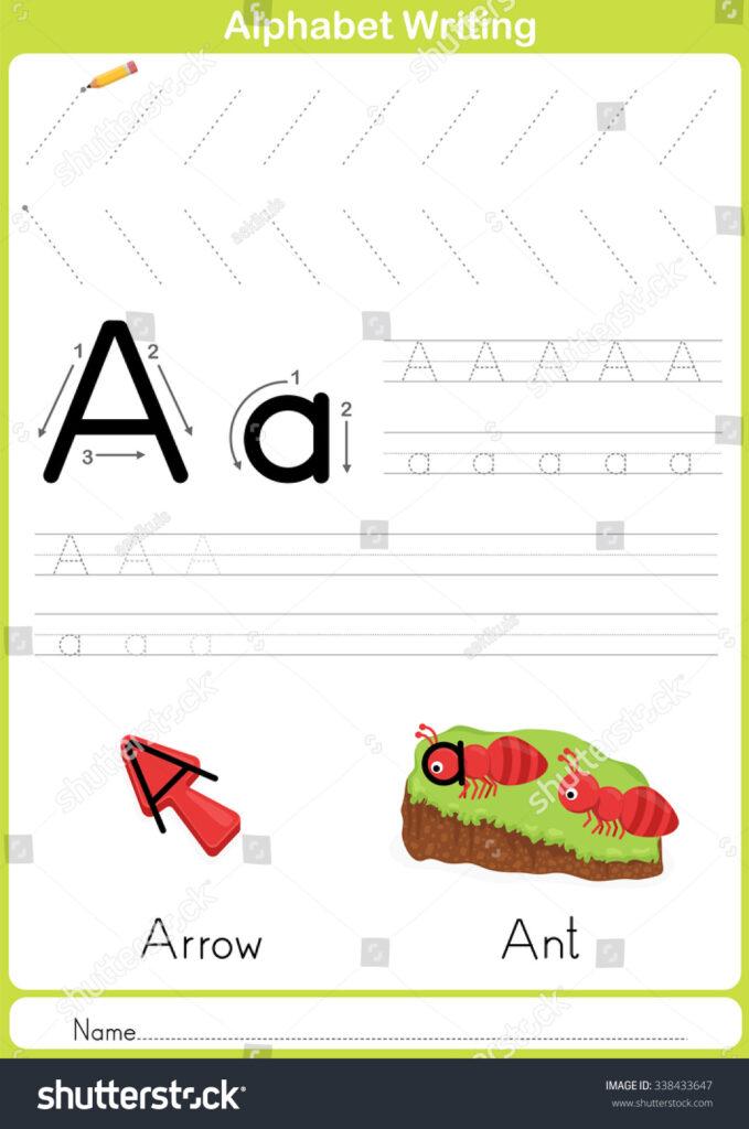 Alphabet Az Tracing Worksheet Exercises Kids Arkivvektor With Name Tracing Outline