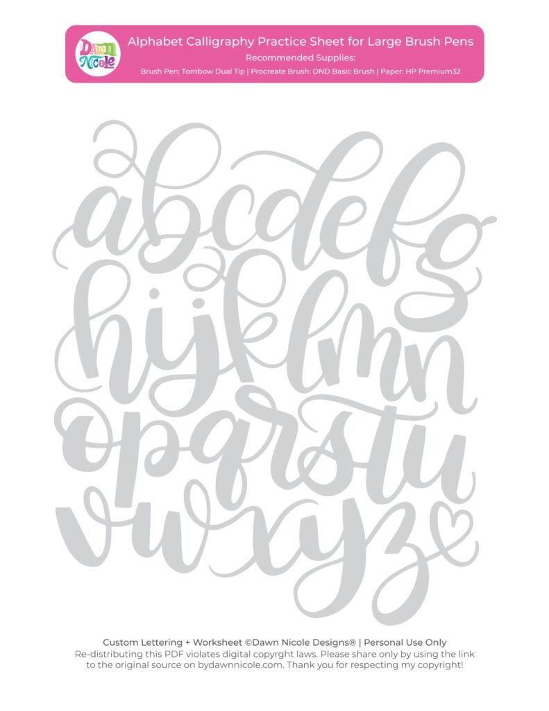 Alphabet Calligraphy Free Practice Sheets Dawn Nicole Ipad Inside Alphabet Worksheets Brush Lettering
