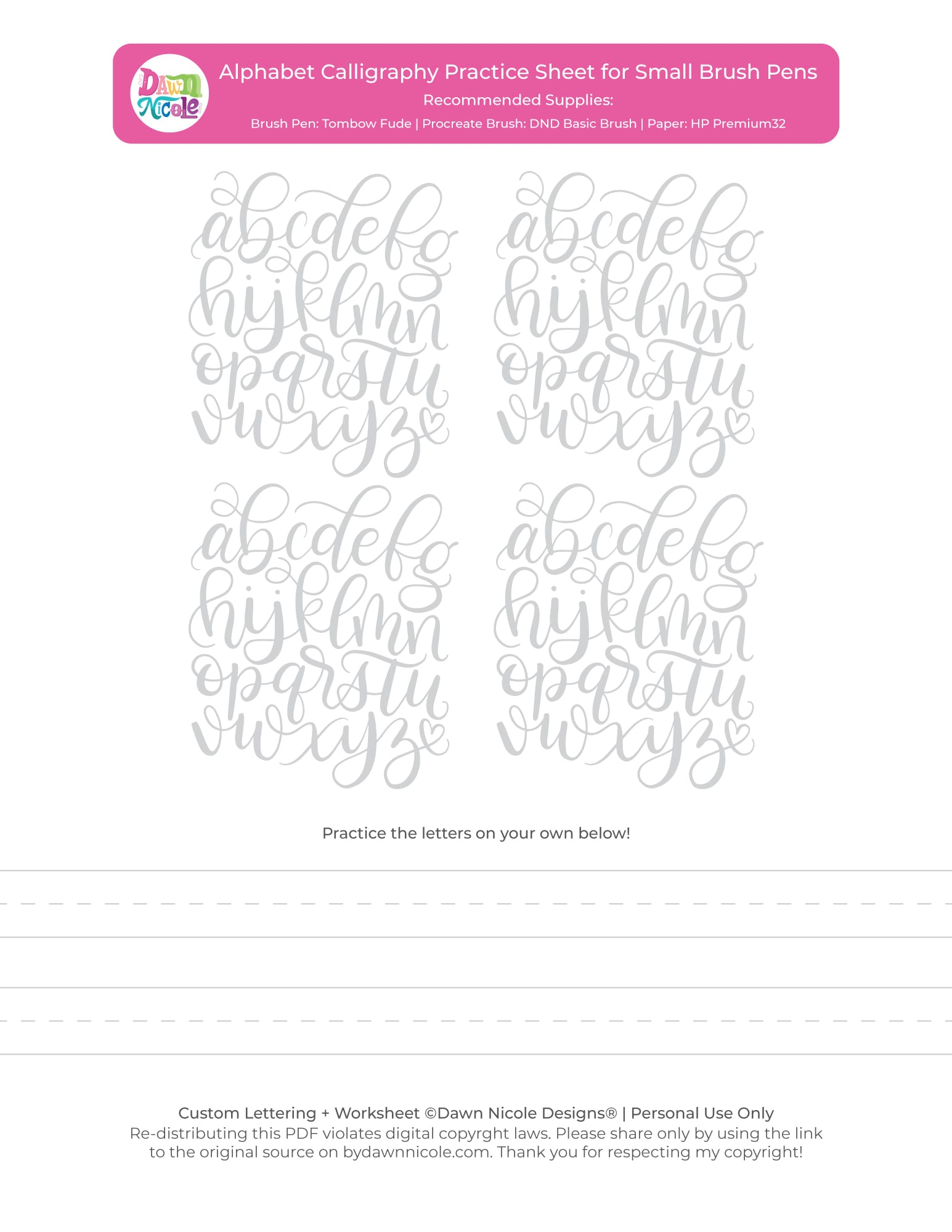 Alphabet Calligraphy Free Practice Sheets Dawn Nicole throughout Alphabet Worksheets Brush Lettering