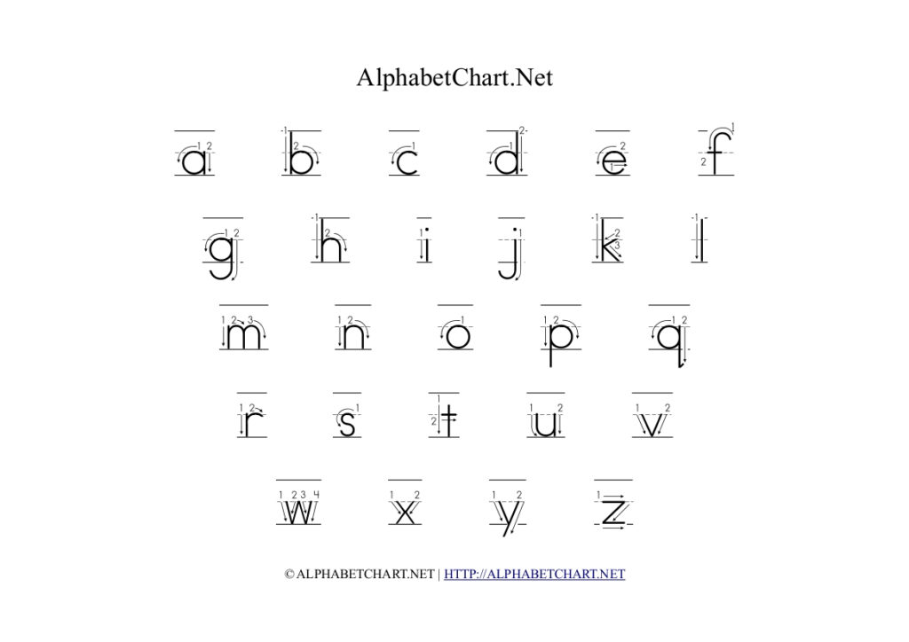 Alphabet Chart With Arrows In Lowercase | Alphabet Chart Net Pertaining To Alphabet Tracing With Arrows