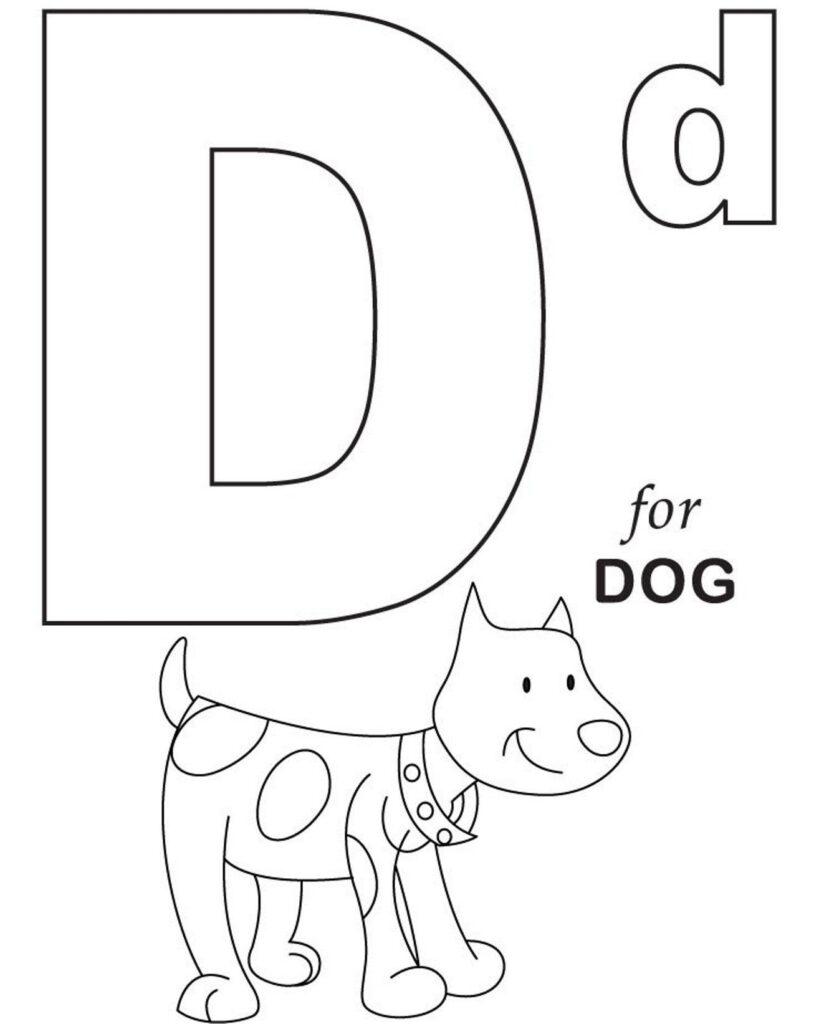 Alphabet Coloring, D For Dog Printable Alphabet Coloring Regarding Alphabet Worksheets Coloring Pages