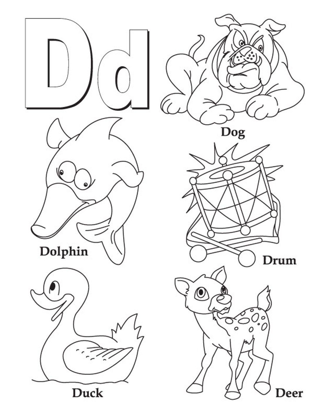 Alphabet Coloring, D Words Printable Alphabet Coloring Pages regarding Alphabet Worksheets Coloring Pages