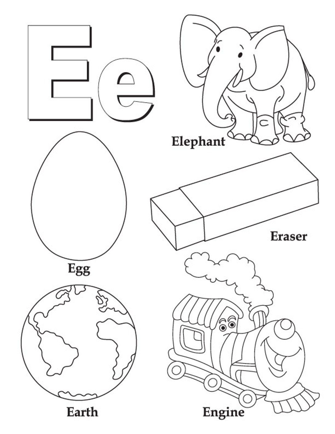 Alphabet Coloring Pages Free Words For E | Abc Coloring in Letter E Worksheets Coloring